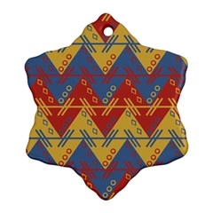 Aztec South American Pattern Zig Snowflake Ornament (two Sides) by BangZart