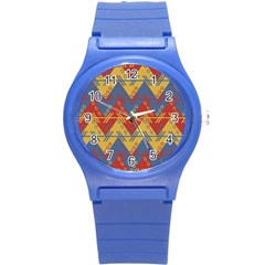 Aztec South American Pattern Zig Round Plastic Sport Watch (s) by BangZart