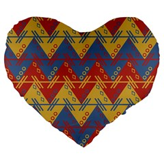 Aztec South American Pattern Zig Large 19  Premium Flano Heart Shape Cushions by BangZart