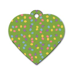Balloon Grass Party Green Purple Dog Tag Heart (one Side) by BangZart