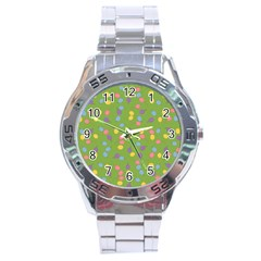 Balloon Grass Party Green Purple Stainless Steel Analogue Watch by BangZart
