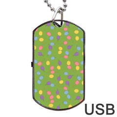Balloon Grass Party Green Purple Dog Tag Usb Flash (one Side)