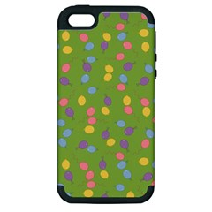 Balloon Grass Party Green Purple Apple Iphone 5 Hardshell Case (pc+silicone) by BangZart