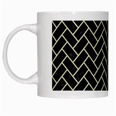 Brick2 Black Marble & Beige Linen White Mugs by trendistuff