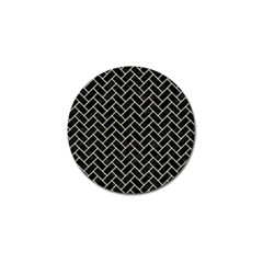Brick2 Black Marble & Beige Linen Golf Ball Marker by trendistuff