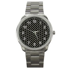 Brick2 Black Marble & Beige Linen Sport Metal Watch by trendistuff