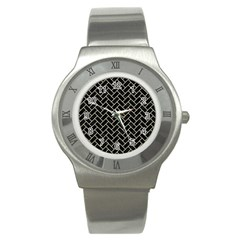Brick2 Black Marble & Beige Linen Stainless Steel Watch by trendistuff