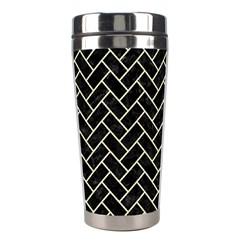 Brick2 Black Marble & Beige Linen Stainless Steel Travel Tumblers by trendistuff
