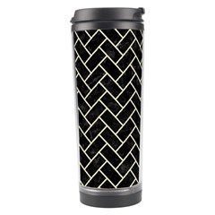 Brick2 Black Marble & Beige Linen Travel Tumbler by trendistuff