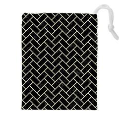 Brick2 Black Marble & Beige Linen Drawstring Pouches (xxl) by trendistuff