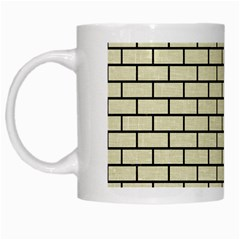 Brick1 Black Marble & Beige Linen (r) White Mugs by trendistuff