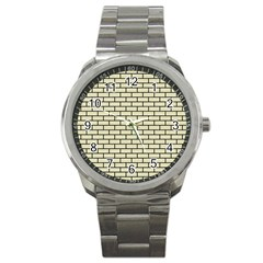 Brick1 Black Marble & Beige Linen (r) Sport Metal Watch by trendistuff