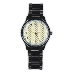 Brick1 Black Marble & Beige Linen (r) Stainless Steel Round Watch by trendistuff