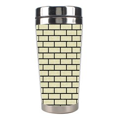 Brick1 Black Marble & Beige Linen (r) Stainless Steel Travel Tumblers by trendistuff