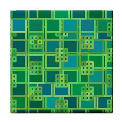 Green Abstract Geometric Tile Coasters