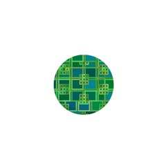 Green Abstract Geometric 1  Mini Magnets