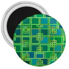 Green Abstract Geometric 3  Magnets by BangZart