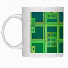 Green Abstract Geometric White Mugs by BangZart