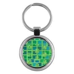 Green Abstract Geometric Key Chains (round)