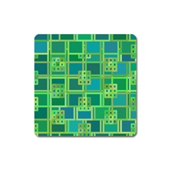 Green Abstract Geometric Square Magnet by BangZart