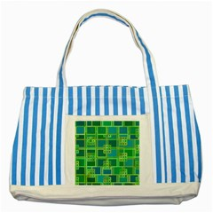 Green Abstract Geometric Striped Blue Tote Bag