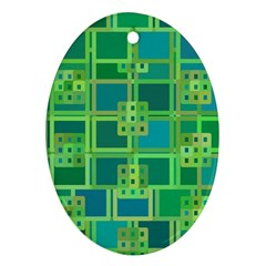 Green Abstract Geometric Oval Ornament (two Sides) by BangZart