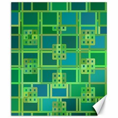 Green Abstract Geometric Canvas 8  X 10