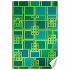 Green Abstract Geometric Canvas 24  X 36  by BangZart