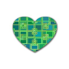 Green Abstract Geometric Heart Coaster (4 Pack)