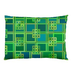 Green Abstract Geometric Pillow Case by BangZart
