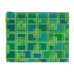 Green Abstract Geometric Cosmetic Bag (xl) by BangZart