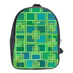 Green Abstract Geometric School Bags(large)  by BangZart
