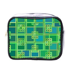 Green Abstract Geometric Mini Toiletries Bags by BangZart