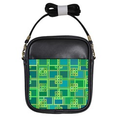 Green Abstract Geometric Girls Sling Bags by BangZart
