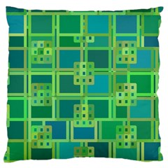 Green Abstract Geometric Large Cushion Case (two Sides) by BangZart