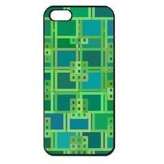 Green Abstract Geometric Apple Iphone 5 Seamless Case (black) by BangZart