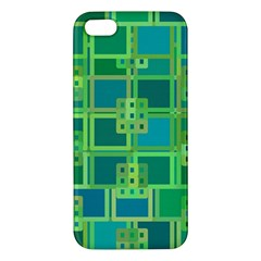 Green Abstract Geometric Apple Iphone 5 Premium Hardshell Case by BangZart
