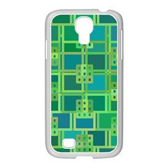 Green Abstract Geometric Samsung Galaxy S4 I9500/ I9505 Case (white) by BangZart