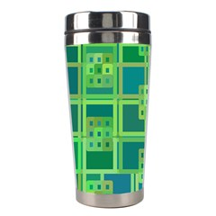 Green Abstract Geometric Stainless Steel Travel Tumblers by BangZart