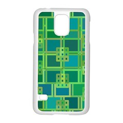 Green Abstract Geometric Samsung Galaxy S5 Case (white)