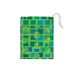 Green Abstract Geometric Drawstring Pouches (small)  by BangZart