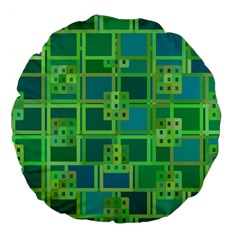 Green Abstract Geometric Large 18  Premium Flano Round Cushions by BangZart