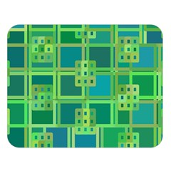Green Abstract Geometric Double Sided Flano Blanket (large)