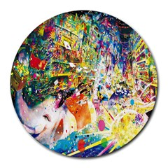 Multicolor Anime Colors Colorful Round Mousepads by BangZart