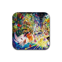 Multicolor Anime Colors Colorful Rubber Coaster (square)