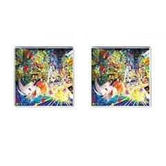 Multicolor Anime Colors Colorful Cufflinks (square)