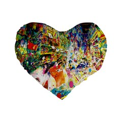 Multicolor Anime Colors Colorful Standard 16  Premium Flano Heart Shape Cushions by BangZart
