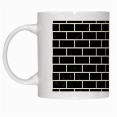 Brick1 Black Marble & Beige Linen White Mugs by trendistuff