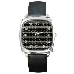Brick1 Black Marble & Beige Linen Square Metal Watch by trendistuff
