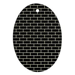 Brick1 Black Marble & Beige Linen Oval Ornament (two Sides) by trendistuff